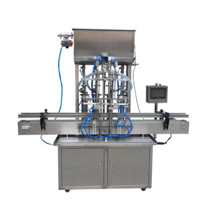 Αυτόματο ογκομετρικό γεμιστικό μηχάνημα ρευστών υλικών, κατασκευασμένο από ανοξείδωτο ατσάλι, με μεταφορική ταινία 2 μέτρων
