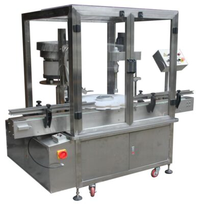 Automatic rotary capping machine for metallic pilferproof PFP, UT, and with or without flow regulator caps for glass bottles of olive oil, wine, ouzo, tsipouro, drinks
