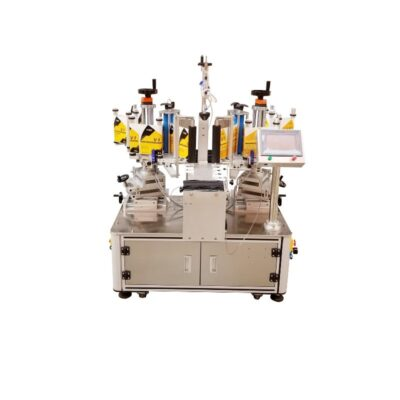 Semi automatic labelling machine for two labels at the back and front of the containers olive oil detergents shoe paints car oils shampoo shower gel bath