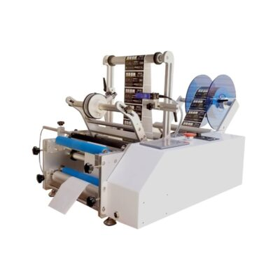 Semi autromatic labeling machine for one or two labels in the same cycle, on round containers